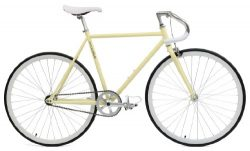 Critical Cycles Classic Fixed-Gear Single-Speed Bike with Pista Drop Bars, Cream, 49cm/Small