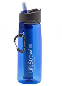 LifeStraw Go Water Filter Bottle with 2-Stage Integrated Filter Straw for Hiking, Backpacking, a ...