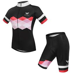 NINE BULL Women's Cycling Jersey Short Sleeve with Padded Quick-Dry Polyester Jacket Bike  ...