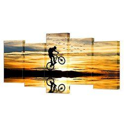 VVOVV Wall Decor – Mountain Bike Racing Canvas Wall Art Bike Jump Poster Giclee Prints Ext ...