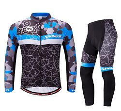 Winter Cycling Gear Men's Bike Jersey Long Sleeve Compression Pants Cycle Clothing Quick D ...