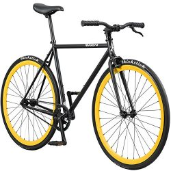 Pure Fix Original Fixed Gear Single Speed Bicycle, Yankee Matte Black/Yellow, 50cm/Small