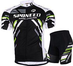 Men's Cycling Jersey Shirt Bike Shorts Padded Clothes Cycle Uniforms US Medium