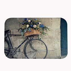 JKYUKO Vintage Bike With A Basket of Flowers Area Rug Door Mat Entrance Rug Floor Mats for Front ...