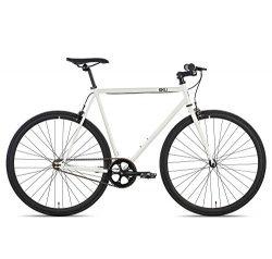 6KU Evian 2 Fixed Gear Bicycle, Gloss White/Black, 52cm