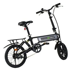 Goplus 120W Lightweight Folding Electric Bicycle Sport Bike Lithium Battery W/ Two Speed Electro ...