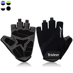 Trideer UltraLight Cycling Gloves (Half Finger) – Breathable Lycra & Anti-Slip Shock – ...
