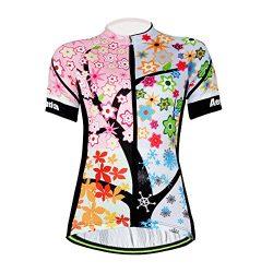 Aogda Cycling Jersey Women Bike Shirts Biking Bib Pants Ladies Cycling Clothing (Jerseys 1, L)