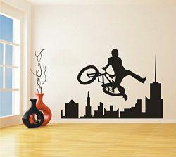 Sport Bike BMX Wall Decal Removable Amazing Extreme sport BMX City Skyline Wall Sticker Home Liv ...