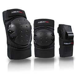 Misayar Knee Pads Elbow Pads Wrist Guards 3 In 3 Protective Gear Set for Skateboarding, Roller S ...