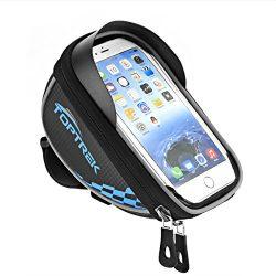 TOPTREK Cycling Bicycle Bike Top Tube Handlebars Bag Phone Mount Holder For iPhone 7 Plus/iPhone ...
