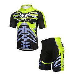 NINE BULL Men's Cycling Jersey Biking Shirts Polyester Short Sleeve Full Zip Bike Clothes Set