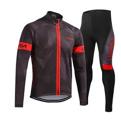 Lixada Men's Cycling Clothing Set, Long Sleeve Cycling Jersey Thermal Fleece Windproof Mou ...