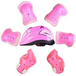 RuiyiF Elbow Pads and Helmet Knee Pads with Wrist Guard,7Pcs Sports Safety Protective Gear Set f ...