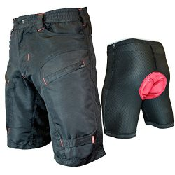 THE SINGLE TRACKER-Mountain Bike Cargo Shorts, With Premium Antibacterial G-tex Padded Undershor ...