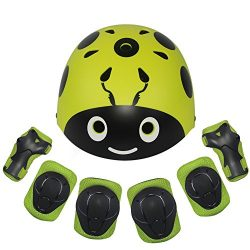 Lanova Kids Protective Gear Set,7Pcs Sport Safety Equipment Adjustable Child Helmet Knee Elbow P ...