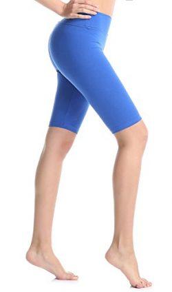 ABUSA Women's Cotton Workout Bike Yoga Shorts – Tummy Control L Royal Blue