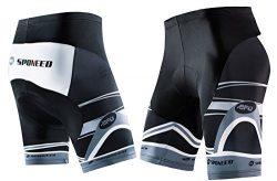 sponeed Mens Bicycle Shorts Spin Bike Pants with Padding Cycle Bottoms Elastic No Pockets Asian  ...