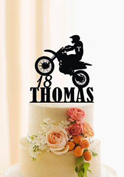 Motorcycle Cake Topper Birthday Cake Topper Personalized Name and Age Dirt Bike Cake Decor Motoc ...