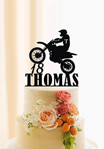 Motorcycle Cake Topper Birthday Personalized Name And Age Dirt Bike Decor Motoc