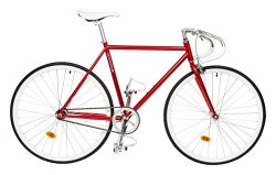 Critical Cycles Classic Fixed-Gear Single-Speed Bike with Pista Drop Bars, Crimson, 49cm/Small