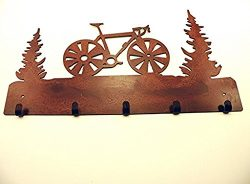 Road Bike 01 Rustic Rusted Metal Leash Key Jewelry 5 Hook 15″w X 8.75″h