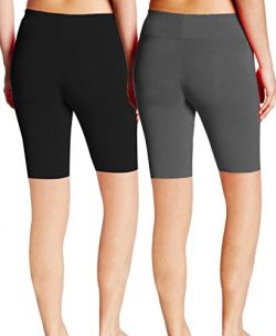 ABUSA Women's Cotton Workout Bike Yoga Shorts – Tummy Control(XL,Pack Of 2 – B ...