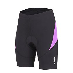beroy Bike Shorts with 3D Gel Padded,Bicycle Shorts Girls(L,Purple)