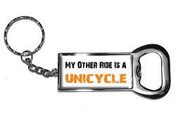 Graphics and More Ring Bottlecap Opener Key Chain, My Other Ride Vehicle Car Is A Unicycle (KK0382)