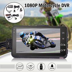 Kreema 3″ LCD Motorcycle Camera DVR G-Sensor Motor Dash Cam 720P with Dual-track Front Rea ...