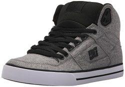 DC Men's Spartan High WC TX SE Skate Shoe, Black/Heather Grey, 11.5D D US