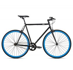 6KU Shelby 4 Fixed Gear Bicycle, Gloss Black/Blue, 58cm