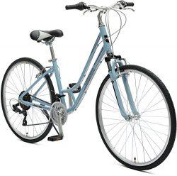 Critical Cycles Women's Barron Hybrid 21 Speed Bike, Powder Blue, 16″/Small