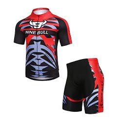 NINE BULL Men's Cycling Jersey Short Sleeve Moisture Wicking Full Zip Polyester Road Breat ...