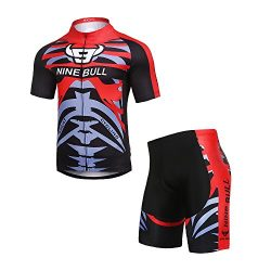 NINE BULL Men's Cycling Jersey Short Sleeve Moisture Wicking with 3D Padded Pants and Full ...