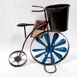 Metal Rustic Bicycle Unicycle Planter Wind Spinner Wheel Decor Indoor/Outdoor 12×12′ NWT
