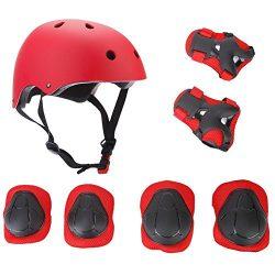 Elesky Christmas Gift Kids Youth Adjustable Sports Protective Gear Set Safety Pad Safeguard (Hel ...