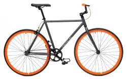 Critical Cycles Fixed Gear Single Speed Fixie Urban Road Bike (Gray/Orange, X-Large)