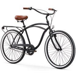sixthreezero Around The Block Men's 3-Speed Cruiser Bicycle, Matte Black w/Brown Seat/Grips