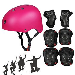 SymbolLife Adjustable Skateboard / Skate Helmet with Protective Gear Knee Pads Elbow Pads Wrist  ...