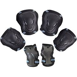 Leadpo Adult / Child Black Blue Color Knee Pads Elbow Pads Wrist Guards 3 In 1 Protective Gear S ...