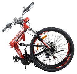 Camp Alloy 26″ Folding Bike 21 Speed Dual Suspension Mountain Bike Rocky