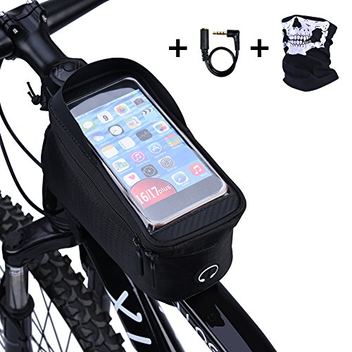 Ejoyous Bike Bag, 6.0″ Touch Screen Portable Road Mountain Bicycle Top Tube Bag Front Fram ...