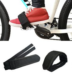 Groupcow 1 Pair Bicycle Pedal Straps Bike Feet Strap Tape for Fixed Gear Bike Black