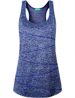 Kimmery Athletic Tank Tops for Women, Ladies Moisture Wicking Shirts Crew Neck Training Wear Sle ...