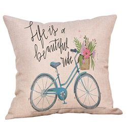 Pillow Cover, Jujunx Happy Valentine's Day Throw Pillow Case Sweet Love Square Bicycle Cus ...