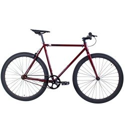 Golden Cycles Single Speed Fixed Redrum 52 Gear Bike with Front & Rear Brakes, Blood Red, 52 ...