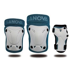 LANOVAGEAR Kids Youth Protective Gear Set, Knee and Elbow Pads with Wrist Guards for Multi-sport ...