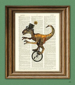 Dapper velociraptor on a unicycle with top hat and monocle dinosaur beautifully upcycled diction ...