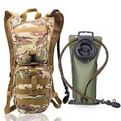 TRADERPLUS Men Women Tactical Hydration Pack Backpack with 2L Leak Proof Water Bladder for Skiin ...